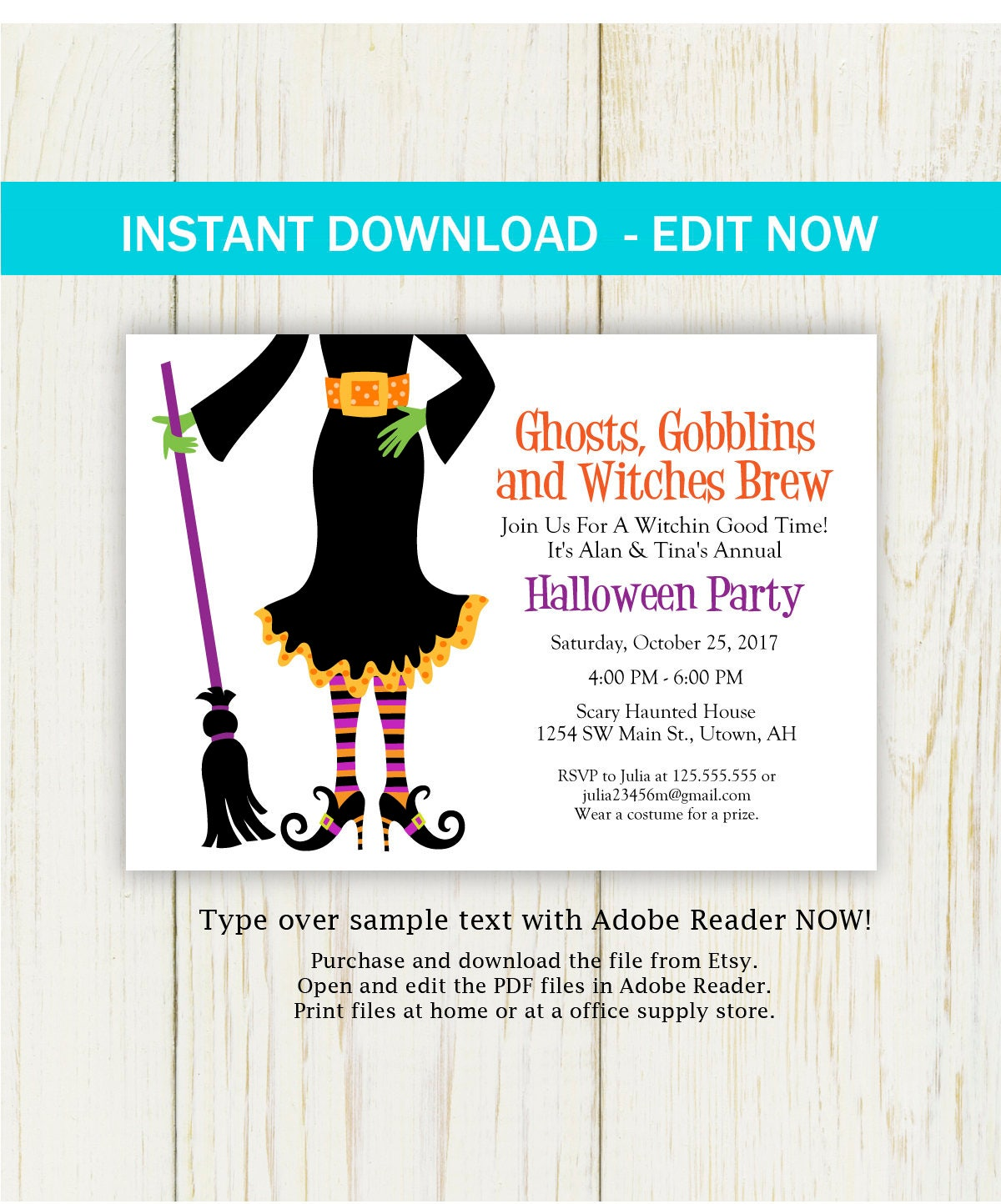 Halloween Witch Invitation, Instant download, witch party ...