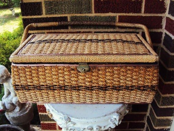 Vintage Sewing Basket Extra Large Wicker Basket Metal Hardware