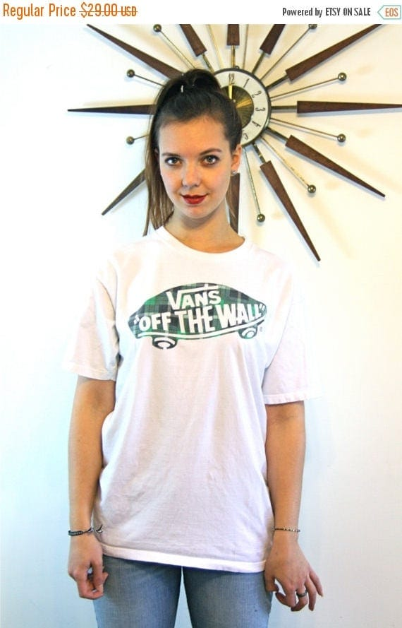 SALE 50% OFF Off The Wall VANS t-shirt White Cotton Plaid Skateboard Army Green Faded Distressed Vans Logo Top 1980s Skater Tee Size Womens