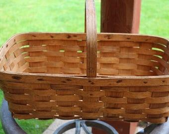 Antique Oak Split Gathering Harvest Apple Basket