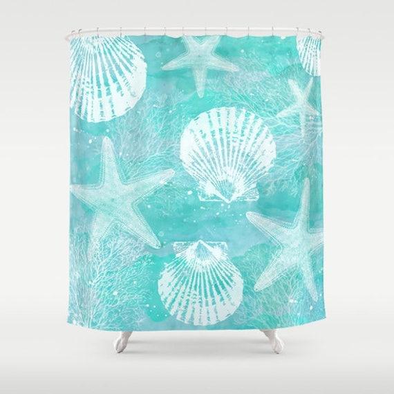 Coastal Fabric Shower Curtain, aqua home decor,teal,turquoise,nautical,starfish,shell bath decor