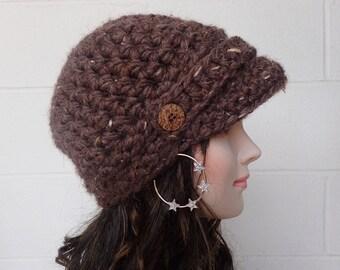 Womens Brimmed beanie Womens Newsboy Hat Crochet Womens Billed beanie Newsboy Cap Female Newsboy Hat Crochet Newsboy Crochet Brimmed Beanie