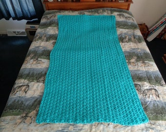 Tuquoise Hand Crocheted Shells Afghan,  Blanket,  Throw - Home Decor