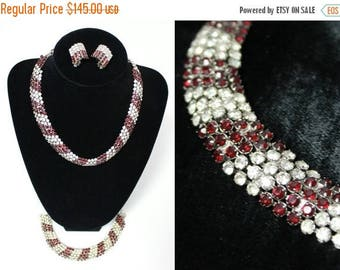 ON SALE Parure Rhinestone Necklace Earrings Bracelet Set Vintage 50s Garnet Red Clear Free US Shipping