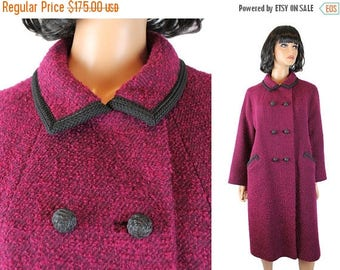 ON SALE Long Pink Coat Sz L Vintage Wool Boucle Black Braid Trim Heavy Winter Jacket Free Us Shipping