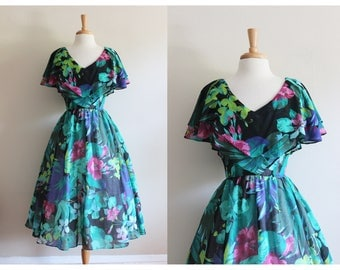 Vintage 1980s does 1950s Green & Black Floral Party Dress