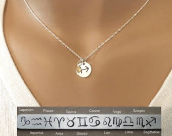 Dainty Horoscope Zodiac necklace - Sagittarius, Capricorn, Aquarius, Pisces, Aries, Taurus, Gemini, Cancer, Leo, Virgo, Libra, Scorpio