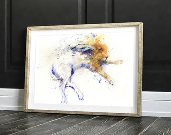 Hare animal art, LIMITED edition PRINT 0f painting  'Lounging Hare'  hand signed, illustration,  rabbit art