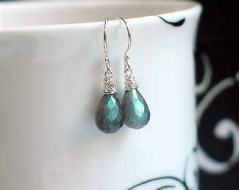 Labradorite Teardrop Earrings | Blue Green Labradorite Full Briolettes | Argentium Sterling Silver Wire Wrapped Dangles | Ready to Ship