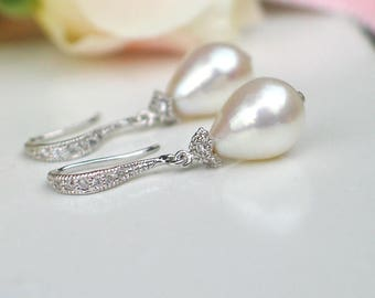 Teardrop Pearl Earrings | Ivory White Rose Freshwater Drop Pearls | CZ Pavé Sterling Silver Dangles | Bridal Jewelry Gift | Ready to Ship