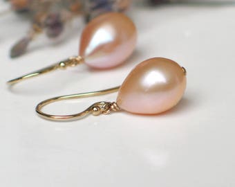 Teardrop Pearl Earrings | Peach Pink Champagne Freshwater Pearls | 14k Gold Fill Dangles | Birthday | Bridal | Everyday Pearl| Ready to Ship