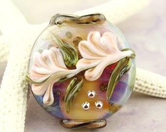 Lampwork Bead,  Floral Lentil Glass Focal,  Iridescent Blue, Purple, Green and Peach Flowers