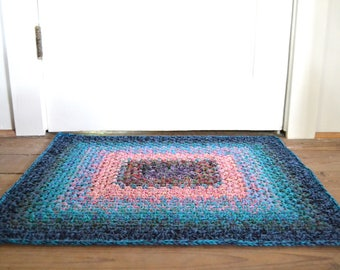 """Handmade crocheted boho reversible mat / rug 26"""" by 24"""" / one of the kind / heavy duty / thick / high quality cotton granny"""