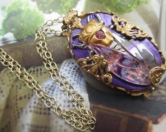 Cicada Necklace In Purple Pink And Gold