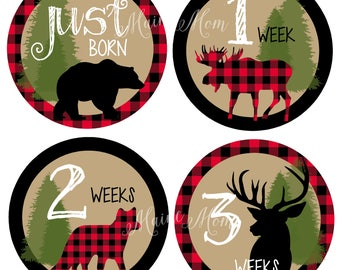 FREE Gift / WOODLAND / Baby Month Stickers, Monthly Baby Stickers, Lumberjack Nursery, Buffalo Plaid, Moose, Deer, Bear, Black Friday Sale