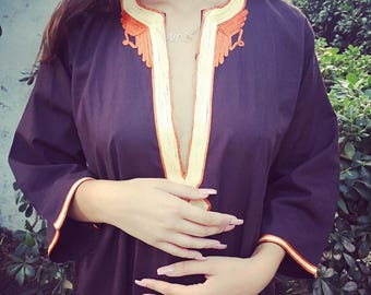 Vintage long brown caftan with orange embroidery Made in Morocco