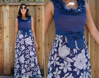 Vintage 60s MOD FLORAL MAXI Hostess Dress S M