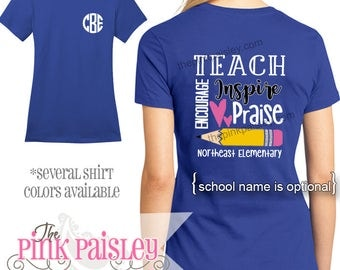 Monogrammed Teacher Shirt | Personalized School Shirt | Teacher Appreciation Gift | Personalized Teacher t-shirt l Back To School