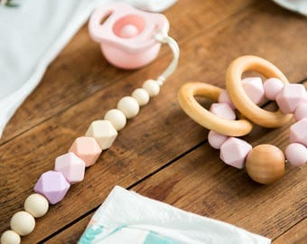 Pacifier Clips - Ivory Pink Ombre - Fall Winter Collection