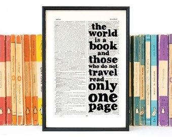 Travel Quote - The World is a Book - Gift for Travellers - Travelling - Inpsirational Quote - Typographic Art - Framed Print - St Augustine