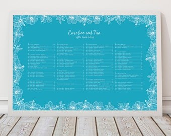 tropical seating plan beach wedding aloha - printable file - hibiscus flower, table or alphabetical order customised seating chart reception