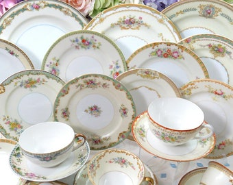 24 Pc Mismatched Dinnerware Set ~ Service for 4 or 8 ~ Vintage Fine China ~ Dinner, Salad, Bread Plates, Bowls, Tea Cups & Saucers~ DS38