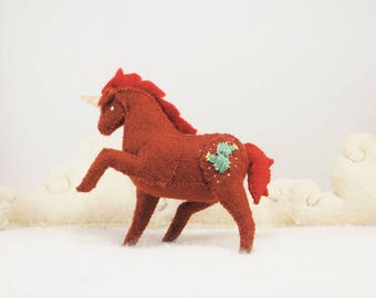 Miniature Stuffed Unicorn - Red Cactus - Tiny embroidered Felt Stuffed Animal