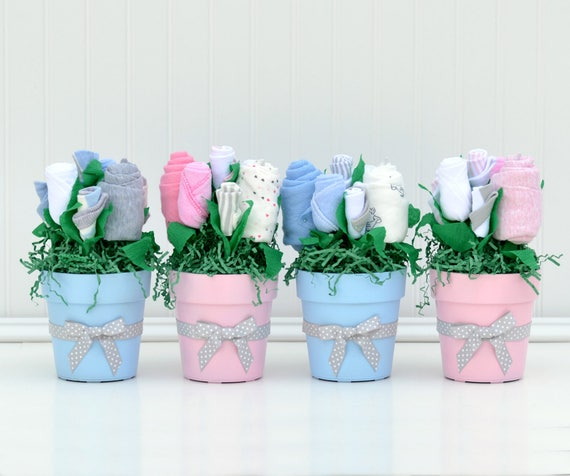 Baby shower centerpiece boy girl twins blue
