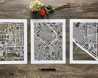 "custom hand cut map, set of three 11""x14"" ORIGINALS"