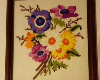 Vintage Mid-Century 1970's Crewel Wall Hanging Vibrant Colors! Mod!