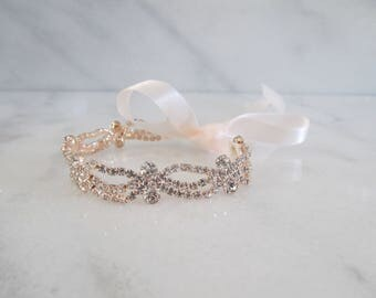 Rose Gold Rhinestone Bridal Cuff,Wedding Accessories, Bracelet,Crystal Bridal Bracelet,#B59