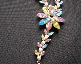 Rainbow Rhinestone Necklace, Gatsby Jewelry, Bridal Jewelry, Wedding Necklace, Art Deco, Wedding, Bridal, Spring Wedding, Aqua, Pink, Pastel