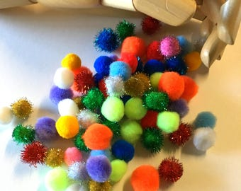POM POMs . Mini Assorted Colors Tinsel Small PomPons Jewelry Arts and Crafts Supplies Large Assortment Kids Crafts Cardmaking Balls