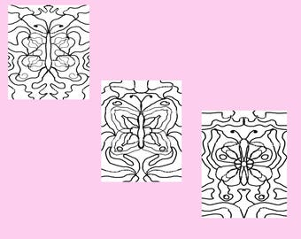 Set of Three Butterfly Themed Coloring Patterns Digital Downloads Art Therapy