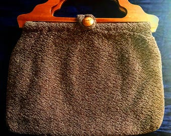Vintage clutch with wooden handles