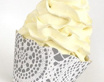 White cupcake cases wedding invitations
