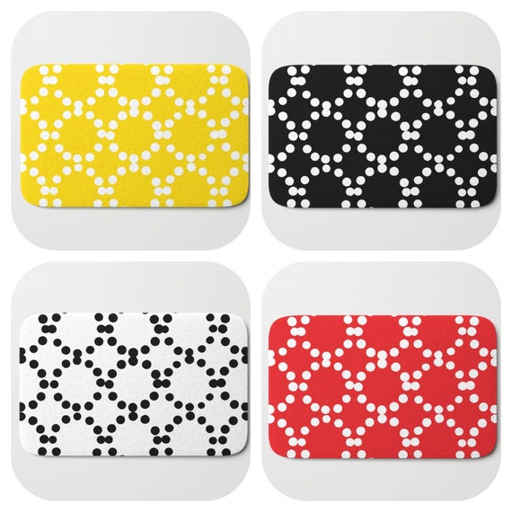 Bath Mat - Black and White Bath Mat - Yellow Bath Mat - Bath Rug - Red Shower Mat - Ring dot Rug - Black Rug - Circle Rug - Red bath Rug