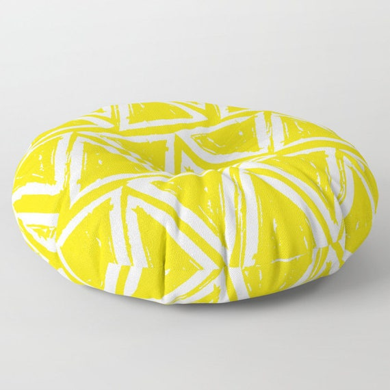 Yellow floor cushion - Round cushion - Yellow Pillow - Round pillow - Floor pillow - Geometric pillow - 26 inch pillow - 30 inch pillow