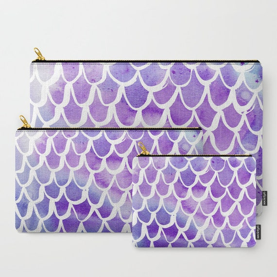 Purple Mermaid Zippered pouch - Zipper bag - Purple pencil case - Mermaid Ipad bag - Art pouch - Pencil bag - Purple Mermaid Makeup bag