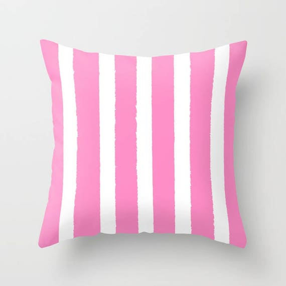 OUTDOOR Throw Pillow - Pink and White Outdoor Pillow - Stripe patio cushion - Modern Pink Pillow - 16 18 20 inch - Bubblegum Outside Pillow