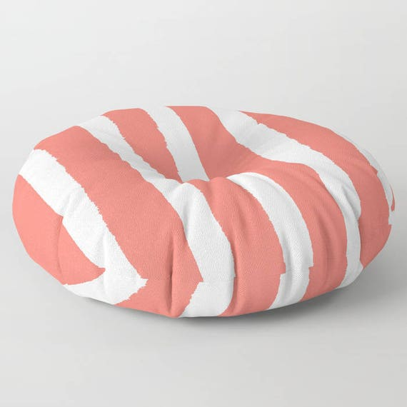 Coral White Striped floor cushion - Round cushion - Pillow - Round pillow - Salmon Striped Floor pillow - 26 inch pillow - 30 inch