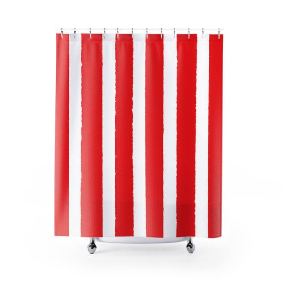Red Shower Curtain . Red Striped Shower Curtain . Modern Red Shower Curtain . Shower Curtain . Red Striped Shower Curtain . Red Bath