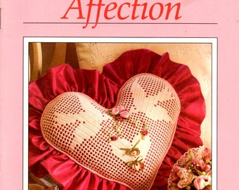 Tokens of Affection Filet Dove Ring Bearer Pillow Flower Heart Hat Boxes Ribbon Birth Announcement Watercolor Pictures Craft Pattern Leaflet