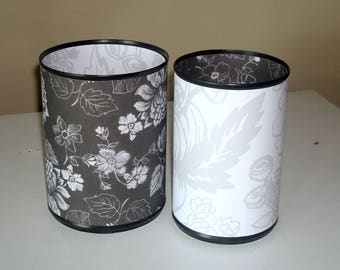 Black and White Floral Desk Accessories, Floral Pencil Holder, Make-up Brush Holder, Office Organization, Office Decor, Coworker Gift - 998