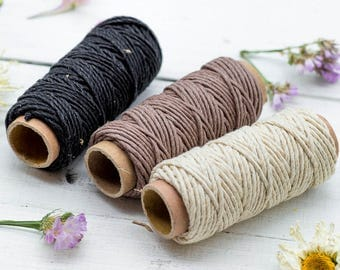 Hemp Cord 1mm, 3 Mini Spools, Hemp Thread, Hemp Twine,  Earth Tones, Scrapbooking String