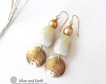 Brass Tribal Earrings, Gold Agate Earrings, Natural Stone Earrings, Gold Dangle Earrings, Handmade Metal Jewelry, June's Birthstone - Pearl