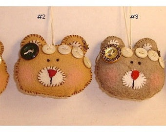 Teddy Bear Ornament/Made of Felt/ Single OR SET of 2/ Handmade/*Made to Order**