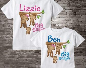 Big Sister Big Brother Shirt set of 2, Sibling Shirt, Personalized Tshirt with Cute Monkeys 05032012c