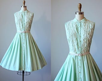 50s Dress - Vintage 1950s Dress - Pastel Mint Green Peter Pan Collar Full Skirt Sundress w Lace M L - Lucky Clover Dress