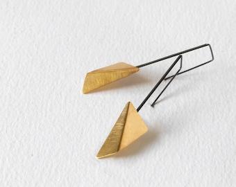 24k Gold Plated Silver Earrings, 24k Gold Plated Geometric Earrings, Triangle Dangle Earrings, Statement Gold Earrings, Minimalist Earrings